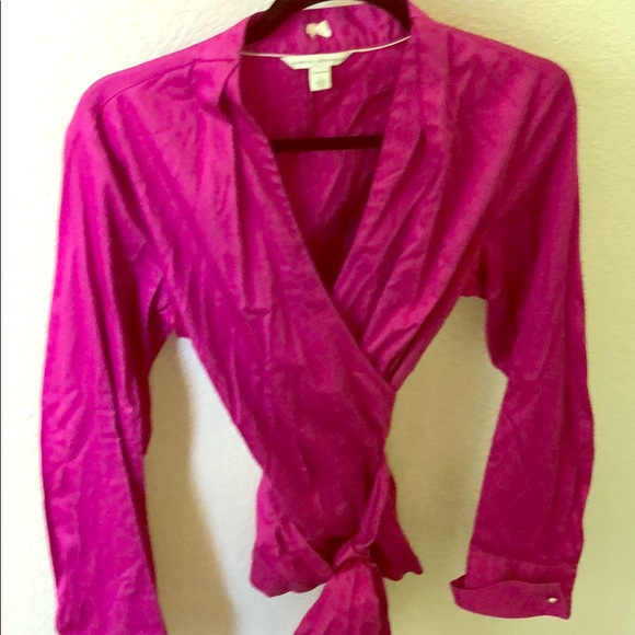 Banana Republic Tops - Banana Republic magenta wrap shirt